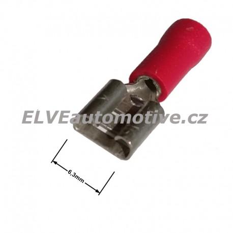 Faston 6,3mm objímka lisovací červená