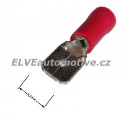 Faston 6,3mm zástrčka lisovací červená