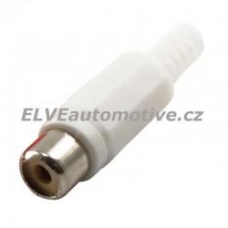 Konektor CINCH bílý, zásuvka na kabel